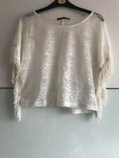 Designer ATMOSPHERE Womens Top/ Lace/ Size 10/ Cream/ Tassels/ Poncho Look/ Boxy