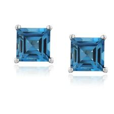 Sterling Silver 2.6ct London Blue Topaz Square Stud Earrings, 6mm