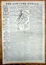 1862 CIVIL WAR newspaper w Headlines & Large Map of BATTLE of COLUMBUS KENTUCKY