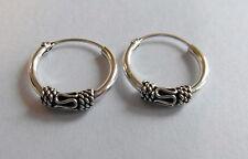 Pair Of Sterling Silver 925  Indo  Bali Hoop Earrings 12  mm !!       New  !!