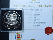 2012 Ascension Island Diamond Jubilee Silver Proof One Crown Coin With COA
