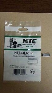 NTE NTE74LS138 Integrated Circuit, TTL, 3-of-8 Decoder/Demultiplexer
