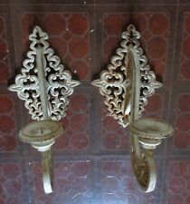 2 Vtg Distress House Garden Wrought Iron Metal Candle Holder LARGE 21""