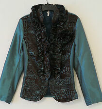 LINDI Cerulean Blue w/Brown Ribbed Ruffle Zip-Front Jacket Size XS