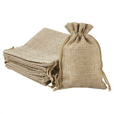 10pc Tan Polyester Packing Pouches Drawstring Bags Wedding Party Bags 13.5x9.5cm
