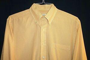 BROOKS BROTHERS 346 15/33 Yellow & White Stripe Button Down Cotton Perfect 70
