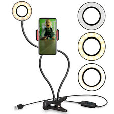 UK Stock LED Selfie Ring Light with Cell Phone Holder Stand for Live Stream Lamp