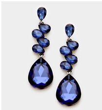 """2.75"""" Navy  Blue Long Rhinestone Crystal Pageant Dangle Drop Pierced Earrings"""