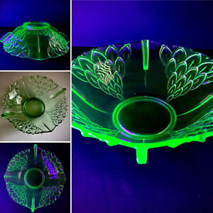 Uranium / Vaseline /Depression Glass 1930s Stölzle Art Deco Style Artichoke Dish