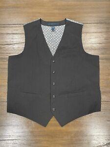 Perry Ellis Black Suit Vest 5 Button Mens Size XL