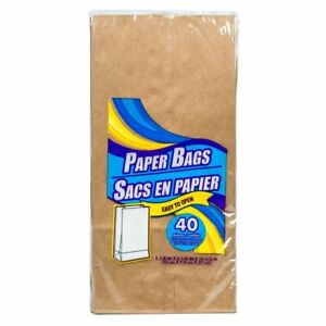 Brown Paper Lunch Bags, 40-ct. Packs New