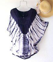 New~Medium~Navy Blue White Tie Dye Blouse Shirt Hippie Tunic Boho Top~8/10/M