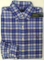NWT $89 Polo Ralph Lauren LS Shirt Mens S M L XL XXL Blue White Red Plaid Oxford