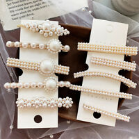 AU_ KE_ Fashion Women Faux Pearl Hair Clip Snap Barrette Stick Hairpin Hair Pin