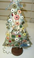 Vintage OOAK Button Art  Christmas Tree Xmas - Home Made , sewing pin cushion