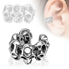 Skull Design Rhodium Plated Brass Non Piercing Cartilage Ear Cuff Ring