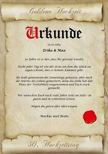 Goldene Hochzeit Urkunde personalisiert Geschenk Karte zum 50. Hochzeitstag A4