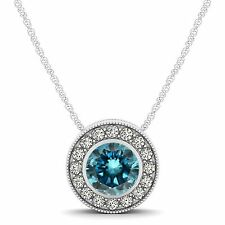"1.00 Carat Blue Diamond Halo Pendant 14K White Gold Solitaire Necklace 18"" Chain"