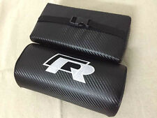 2PCS FOR VW R NECK REST PILLOWS BLACK CARBON FIBER CAR SEAT HEADRESTS CUSHIONS