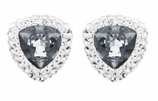 Swarovski Begin Stud Pierced Earrings Dark/Clear Crystal Authentic MIB - 5079320