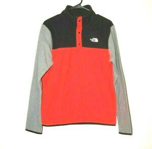 The North Face Kids Glacier 1/4 Snap Fleece Jacket sz XL Red Black Gray 18 20