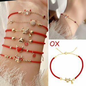 2021 Best Wish Crystal OX Lucky Red Rope Bracelet Bangle Adjustable Jewelry Gift