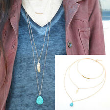 3 Layers Women Gold Feather Turquoise Beads Pendants Necklaces Long Chain Choker