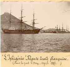 """Navire """"Ephigénie"""", frégate école française dans le port d'Oran, avril 1897"""