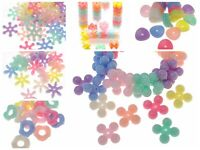 200pcs Mixed Pastel Color Acrylic Various Shape Flower Spacer Beads Kids Craft