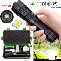 900000Lumens XHP50 Zoom Flashlight LED USB Rechargeable Torch Headlamp Fishing