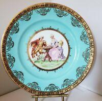 "HEINRICH PORTRAIT PLATE BABY BLUE AND GOLD GILT Porcelain Plate 10.5"""
