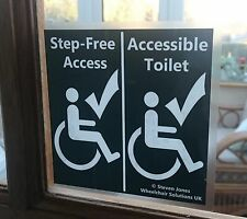Wheelchair/Disabled Window Signage (5 Versions)**Step-Free/Accessible Toilet**