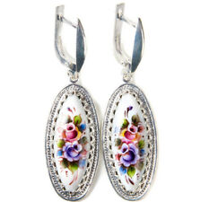 Earrings Finift Enamel Gift Box Hand Made in Russia White Blue Green Flowers