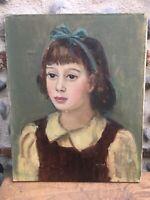 Peinture Hst  Portrait fillette Au Noeud Bleu Huile Sur Toile Circa 1950