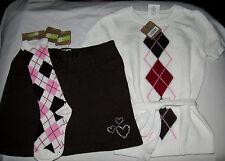 Crazy 8 3PC argyle belted sweater, rhinestone skirt, knee socks NWT 5 6 girls'