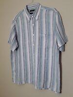 Grant Thomas Mens Stripe Linen Shirt Short Sleeve Size Large Button Front Summer