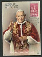 VATICAN MK 1958 PAPST JOHANNES POPE PAPA PAPIEZ CARTE MAXIMUM CARD MC CM d4833