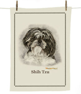 Waggy Dogz cd121 Black Shih Tzu (Head) Dog Breed100% Cotton Tea Towel 67cmx47cm