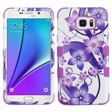 For Samsung Galaxy Note 5 Purple Hibiscus Flower Romance Hard Hybrid Case Cover