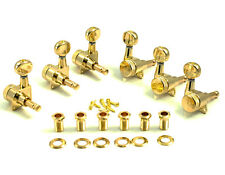 Kluson Locking Tuners - 6 in line, Oval metal button, Gold KL-3805GL