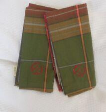 "Pottery Barn Green Plaid Holiday Guest Tea Hand Towel ""D"" Set /2 NLA"