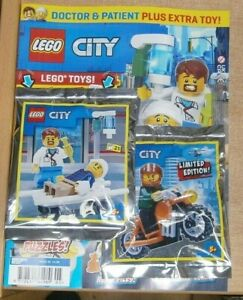 Lego City magazine #39 2021 + Doctor & Patient MiniFigures &  Motorcycle Toy