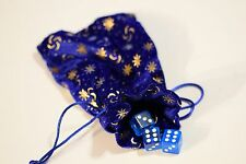 "Blue Royal Pressed Velvet Dice Gift Bag Game Cards Bag Counter Pouch 5"" x 7"" DND"