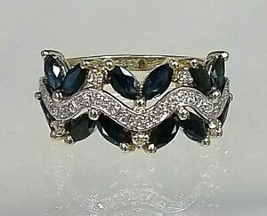 Vintage 9ct Gold Sapphire & Diamond Cluster Ring Fantastic Quality Size  P 1/2