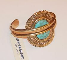 Genuine Lucky Brand Gold Tone Cuff Bracelet with Turquoise Stone,NWT