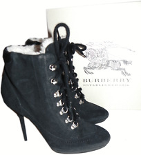 87f88a447 Burberry Brit Kiking Hoppard Ankle Boot Black Shearling Fur 39- 8.5 Bootie