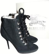 $850 Burberry Brit Kiking Hoppard Ankle Boot Black Shearling Fur  39- 8.5 Bootie