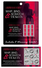 WHIP, BIND & SCRATCH CARDS Sex Tickets Card ADULT Romantic Gift Voucher Naughty