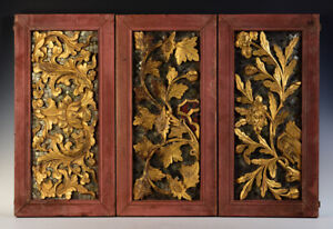 19th C., Mandalay, A Set of Antique Burmese Wooden Panels with Flower Design