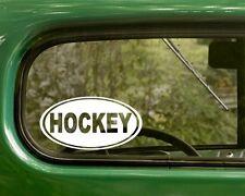 2 HOCKEY DECALs Oval Sticker Vinyl Bumper Car Laptop Truck Window Travel Mug